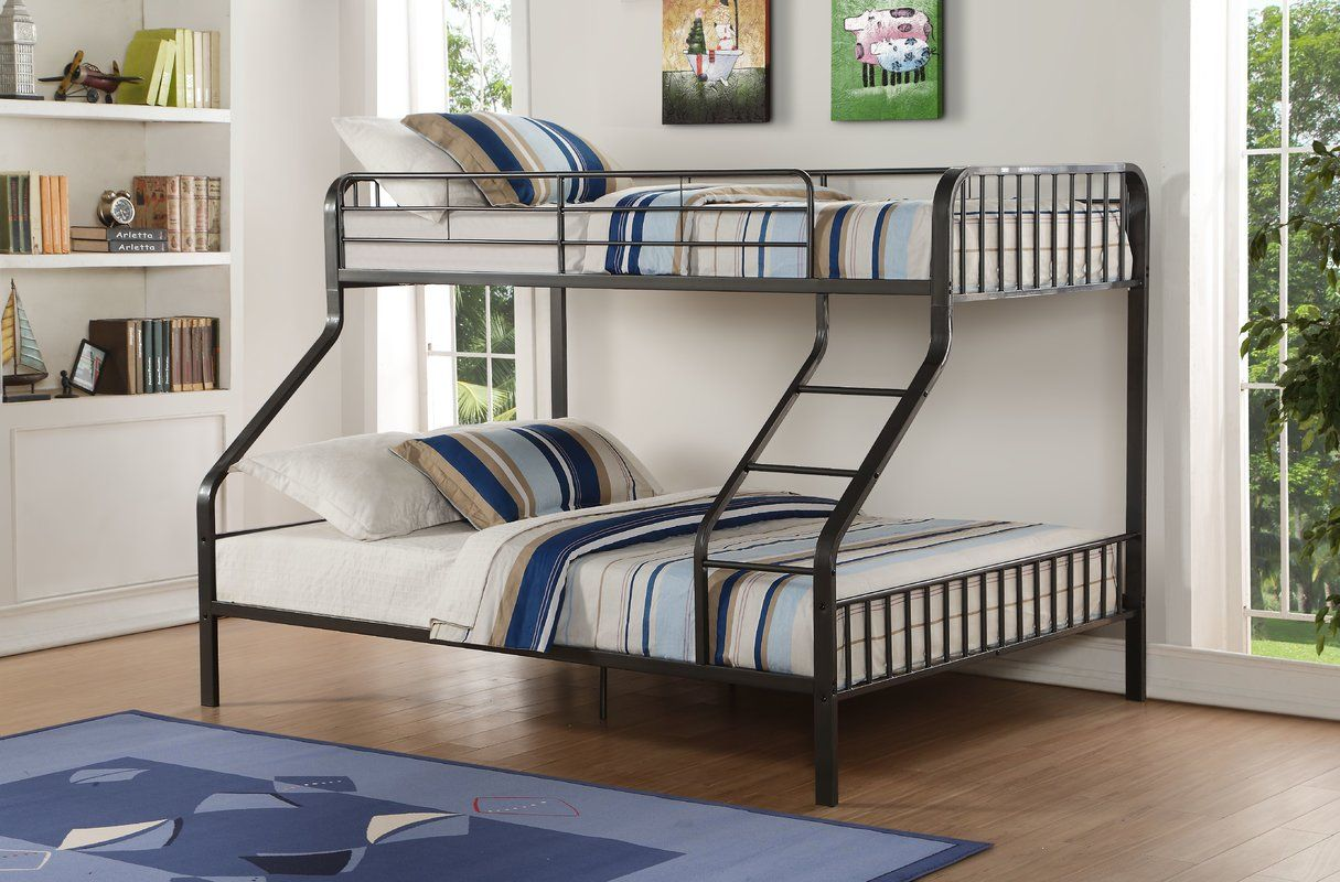 Double loft bed with stairs  Tasha Twin XL Over Queen Slat Bunk Bed  Canulla Bedroom