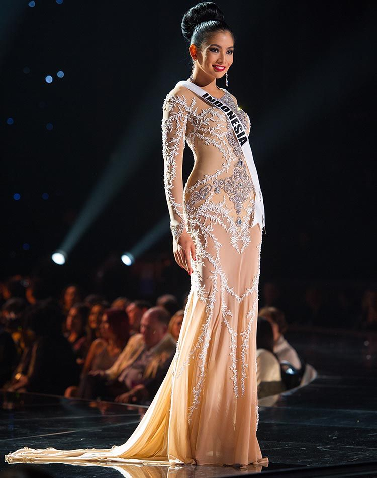 Miss Indonesia Universe wearing dress by Leo Almodal in Preliminary