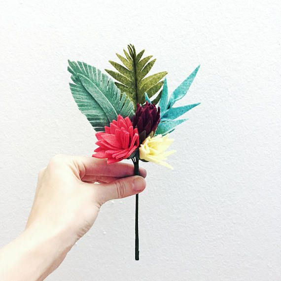 Small tropical felt flower bouquet // faux flowers // floral | Felt ...