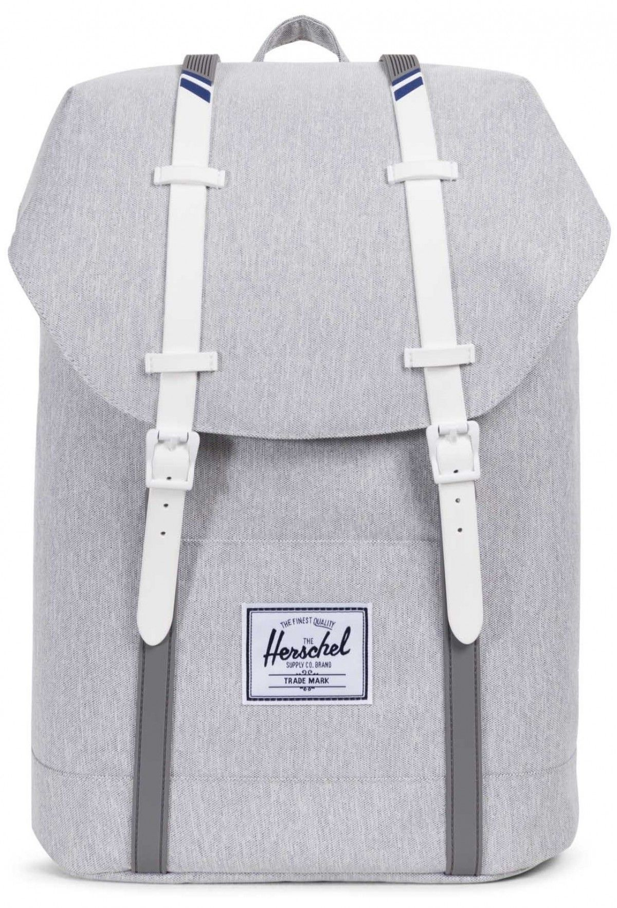 f88693b43f45 Herschel Retreat Backpack 600D Poly Light Grey Crosshatch White ...