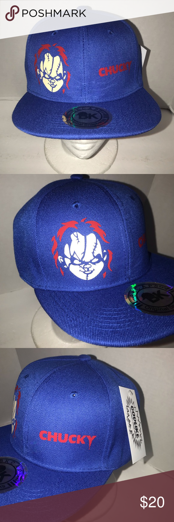 abeec04edd5 Custom snapback hat Chucky Child s play Custom made snapback hat Of Chucky  from the movie Child s play Blue One size fits most Bk caps Accessories Hats