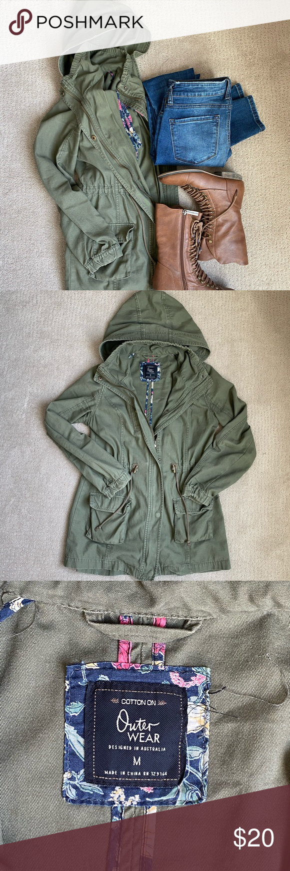 Cotton On Green Outerwear Utility Jacket Size M Well Loved Purchased From Cotton On Fits Oversized With Drawstrings T Green Outerwear Utility Jacket Jackets [ 1740 x 580 Pixel ]