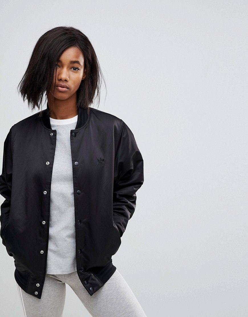 61f67cf2a Adidas Originals Popper Bomber Jacket In Black | Products | Bomber ...