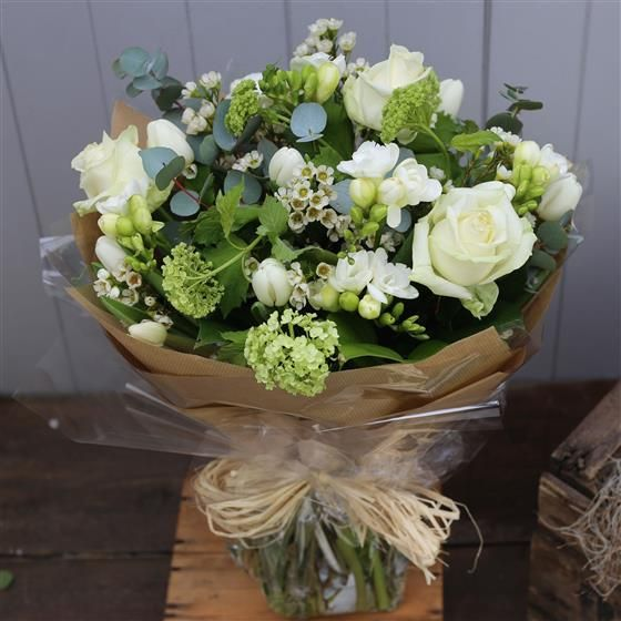 Heaven Scent An All White Hand Tied With Scented Freesia Flower Company Seasonal Flowers