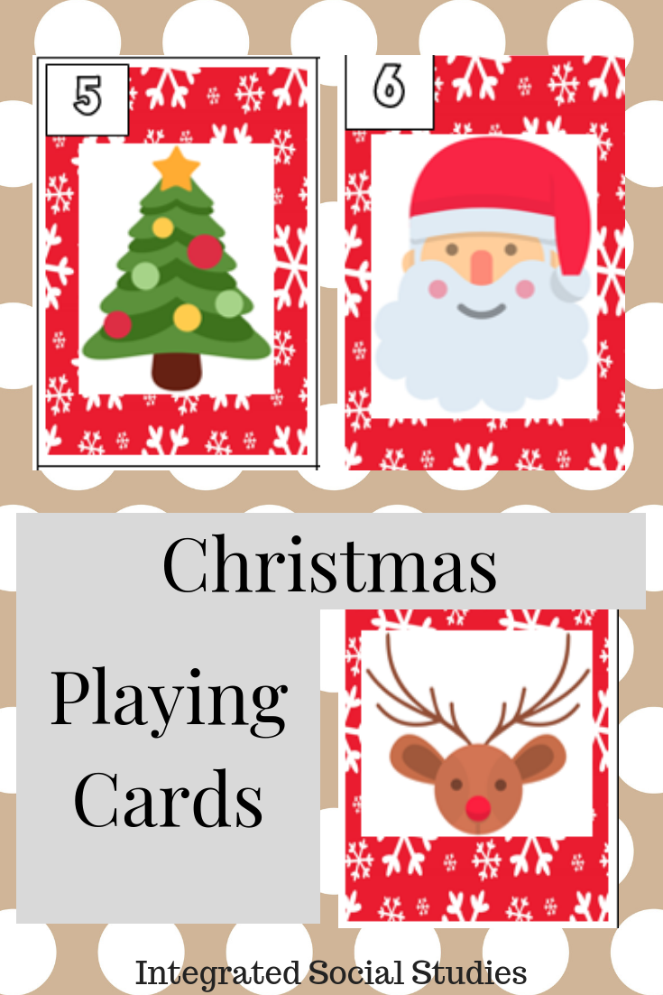 Christmas Playing Cards Holiday Art Projects Social Studies Elementary Playing Card Deck