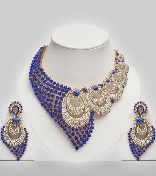 Blue White Stones Studded Wedding Jewelry Set Click Image to
