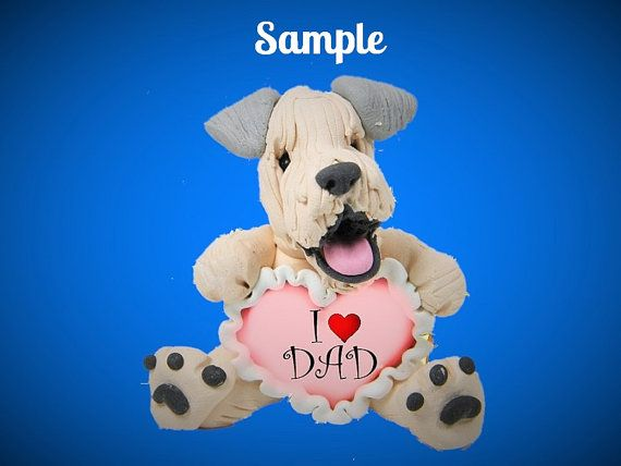 Wheaten Terrier Dog Sculpture love DAD OOAK by sallysbitsofclay