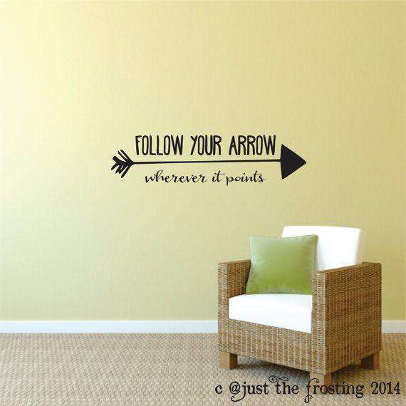 Wall Decor Follow You Arrow Vinyl Wall Decal - Arrow Saying Vinyl ...