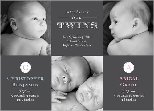 Seeing Double Twins Birth Announcement Shutterfly Perfect for a – Birth Announcements Shutterfly