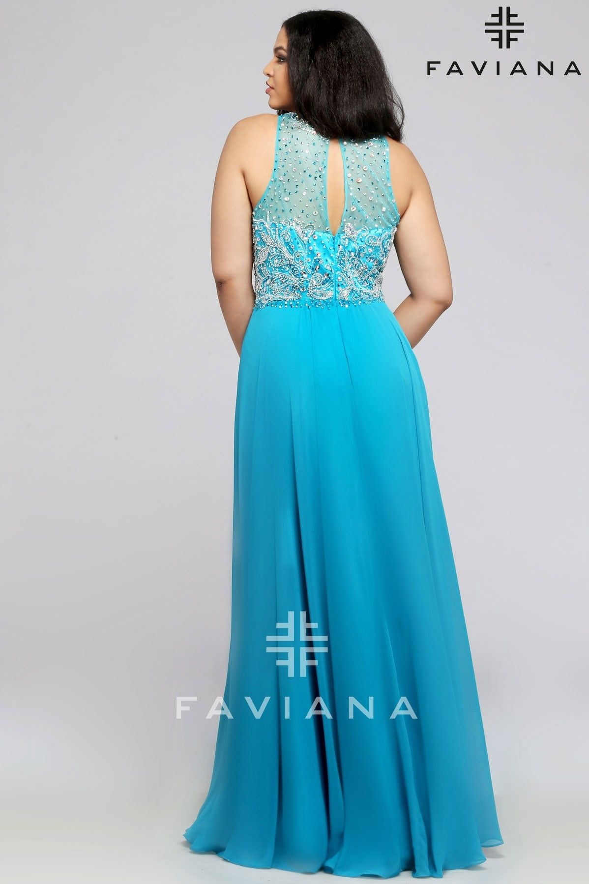 Faviana chiffon with beaded bust and keyhole back bridesmaid