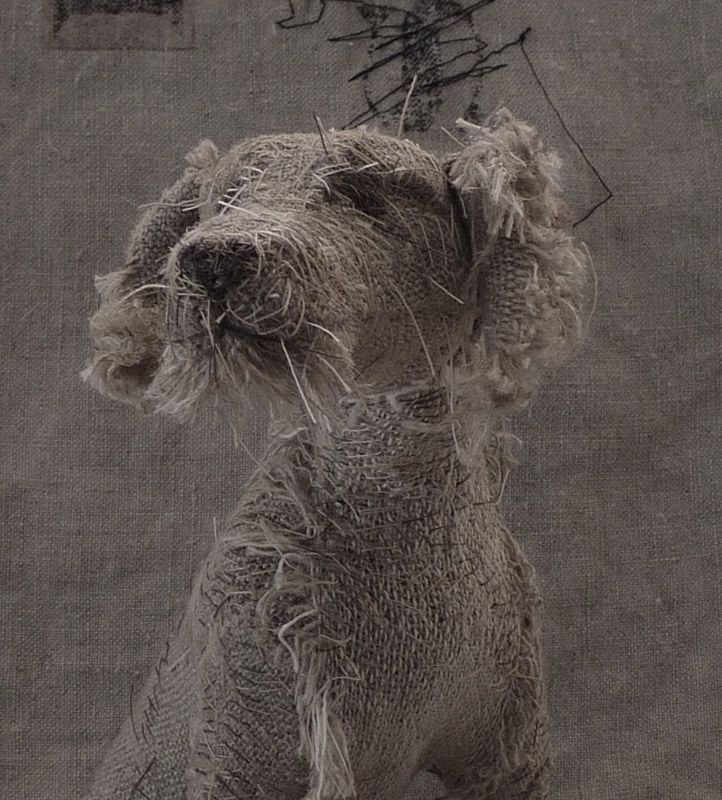 Holy Smoke - these dog sculptures are by UK-based artist Helen Thompson aka Holy Smoke. She creates these from wire, natural linen, and vintage textiles.