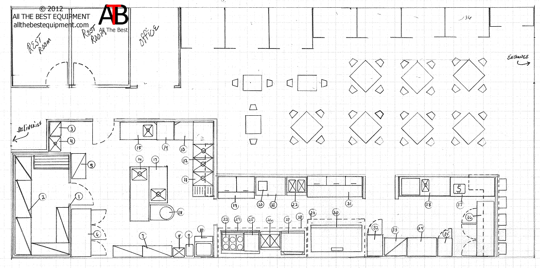 Restaurant drawing layout kitchen