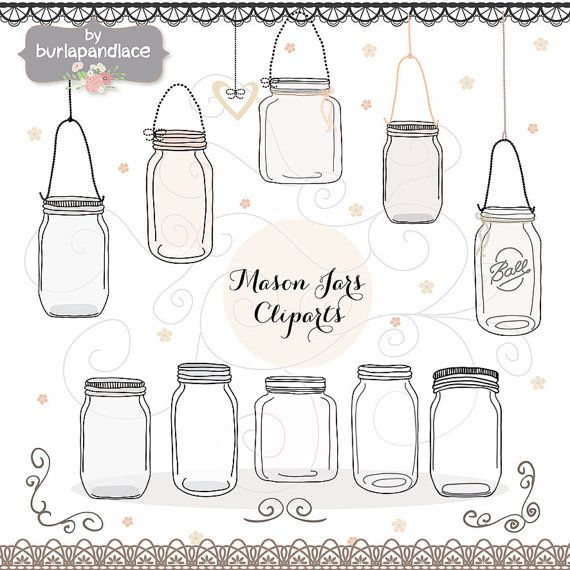 Hand Draw Mason Jar Wedding Invitation Clipart By 1burlapandlace 499