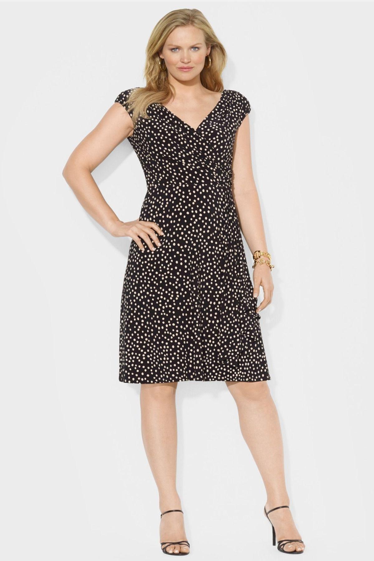 7fcfb706826 Lauren Ralph Lauren Dot Print Cap Sleeve Matte Jersey Dress (Plus Size) by Lauren  Ralph Lauren on  nordstrom rack