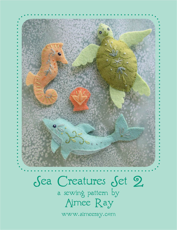 Mini Felt Sea Creatures Set 2 plush PDF sewing pattern felt animal ...