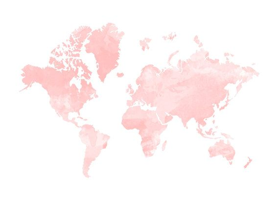 Blush Watercolour World Map Print Home By Hopelessromantics14