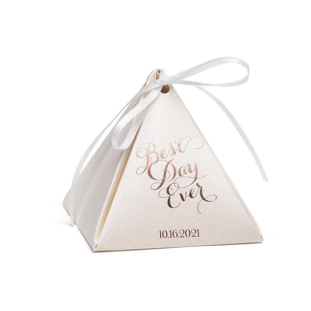 Personalized Ecru Shimmer Pyramid Favor Box - Best Day Ever | Favors ...