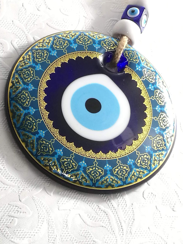Glass Round Blue Evil Eye Design Evil Eye Wall Hanging Evil Eye Bead Wall Decor Blue Evil Eye Home Decoration Evil Eye Decor Nazar Bead Evil Eye Design Blue Evil Eye Eye Design