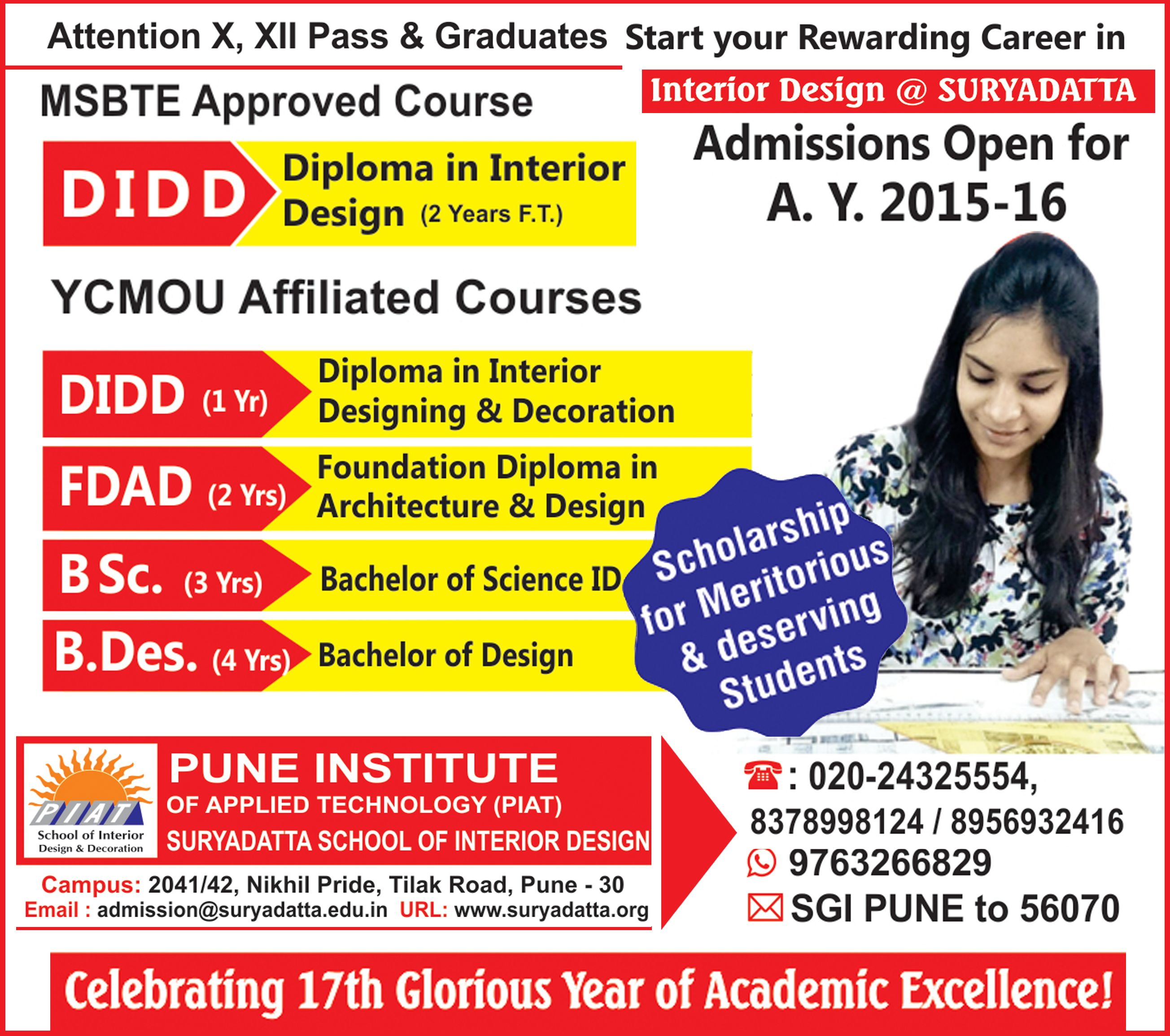 Learn Interior Designing At Suryadatta School Of Design Admissions Filling Fast SGIpune