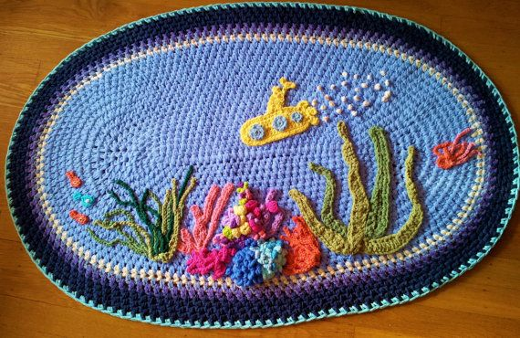 Yellow Submarine Bath Mat/Bath Mats/Kids Room Decor/Bathroom Mat/Rugs/Rug/Oval Rug/Oval Bath Mat/Under the Sea Mat/Handmade Bath Mat