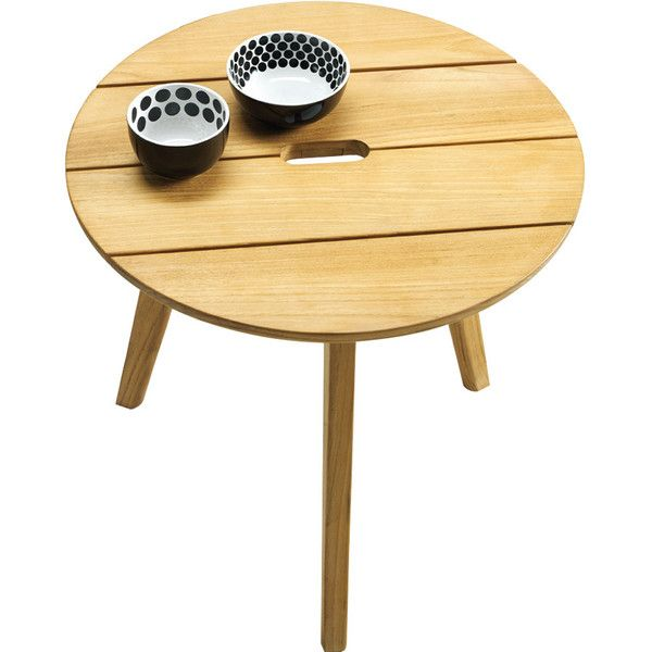 Ethimo Knit Round Coffee Table Natural Teak ($385) ❤ liked on Polyvore featuring home, outdoors, patio furniture, outdoor tables, outdoor, tables, brown, round outdoor table, teak outdoor coffee table and teak outdoor table