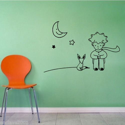 The little prince fox moon star decor mural art wall - Sticker petit prince ...