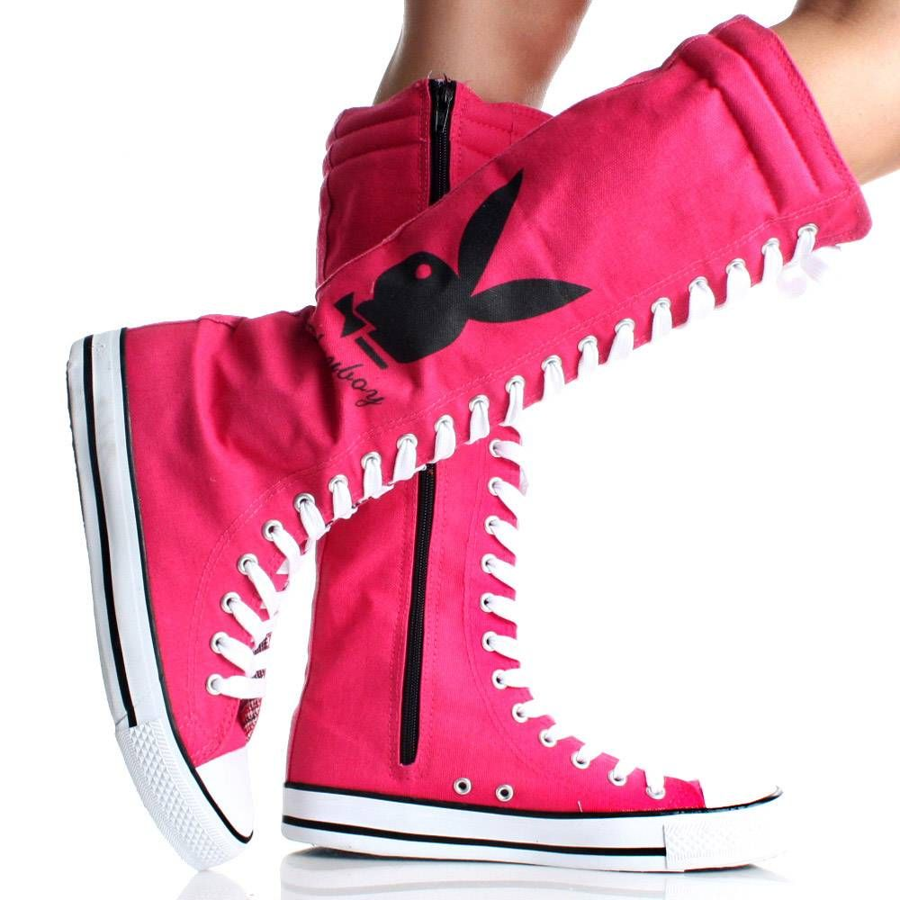 Playboy Bunny Lace Up Knee High Boots Hot Pink Canvas Womens Sneakers e53ab8cfc