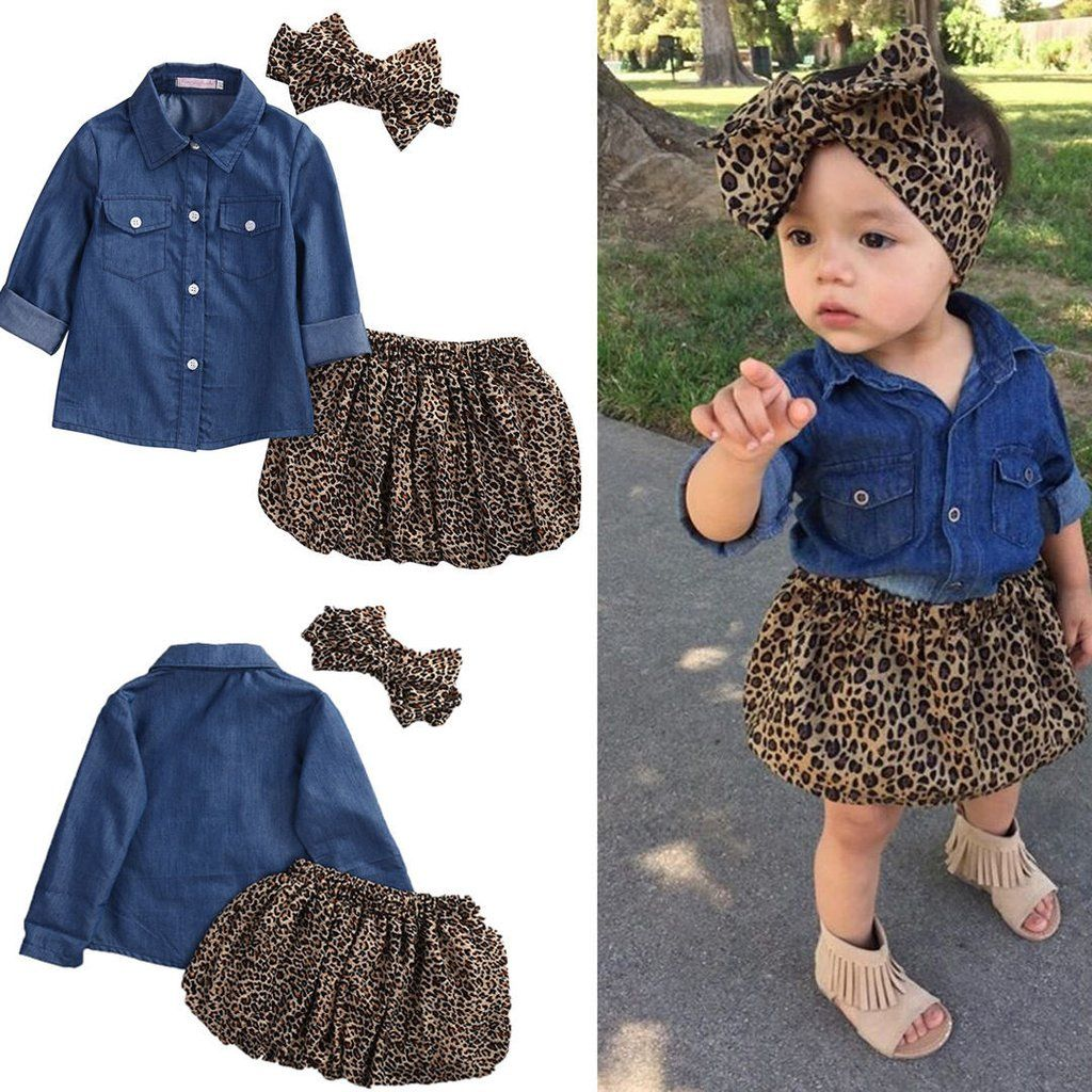 UK 2Pcs Newborn Kids Baby Girls Leopard Print Tops Jeans Shorts Outfits Clothes
