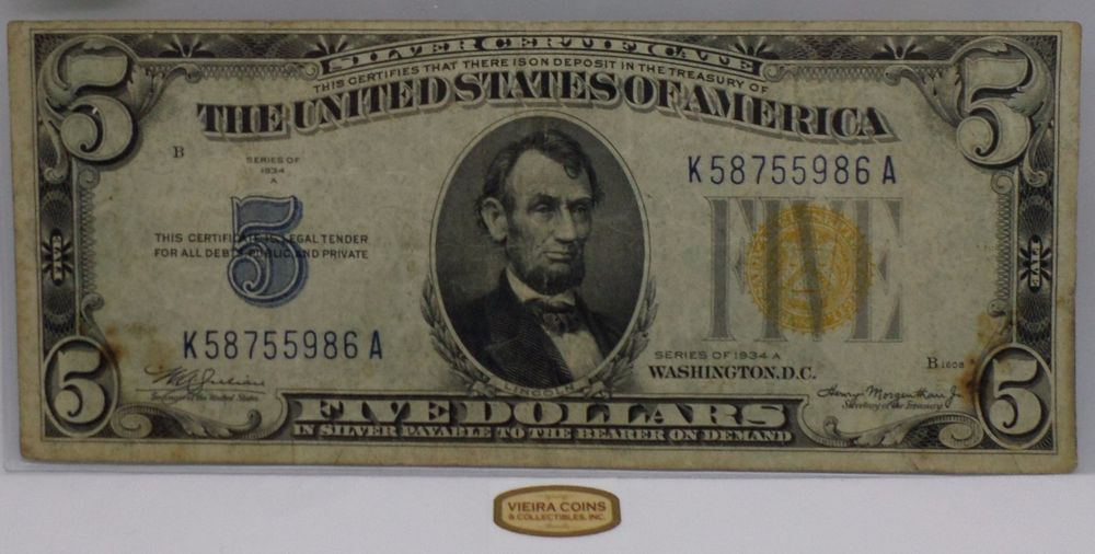 F-2306 1934-A North Africa Silver Certificate One Dollar, Yellow ...