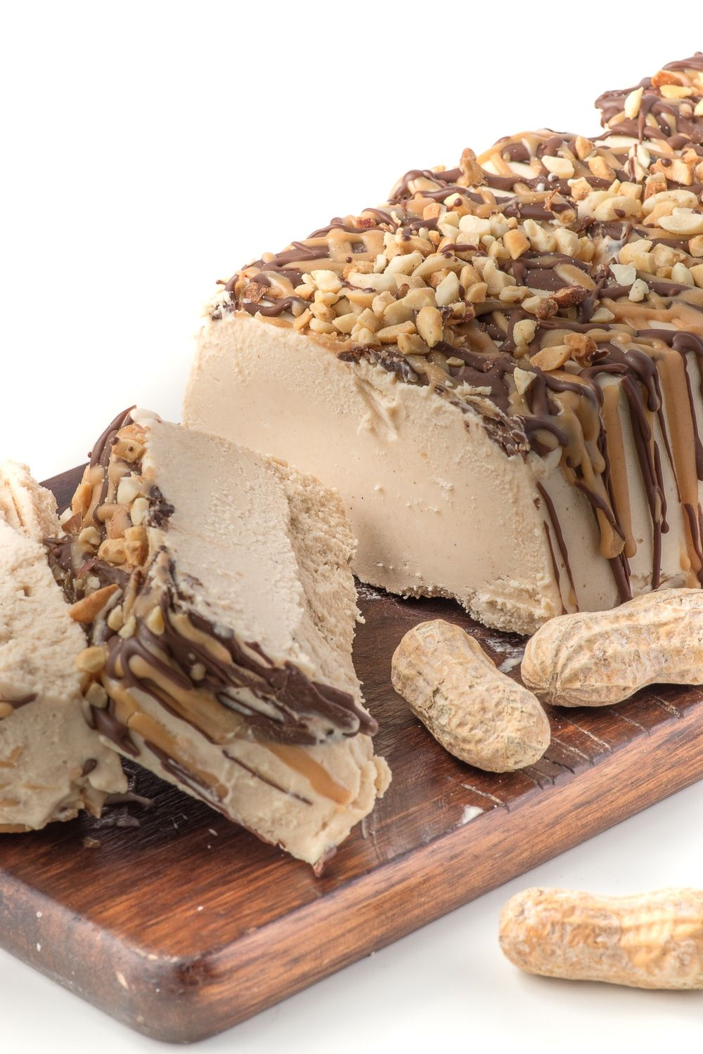A homemade peanut butter ice cream cake topped with