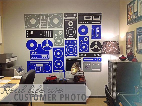 Music Boombox Speakers And Music Equipment Wall By Danadecals - Custom vinyl wall decal equipment