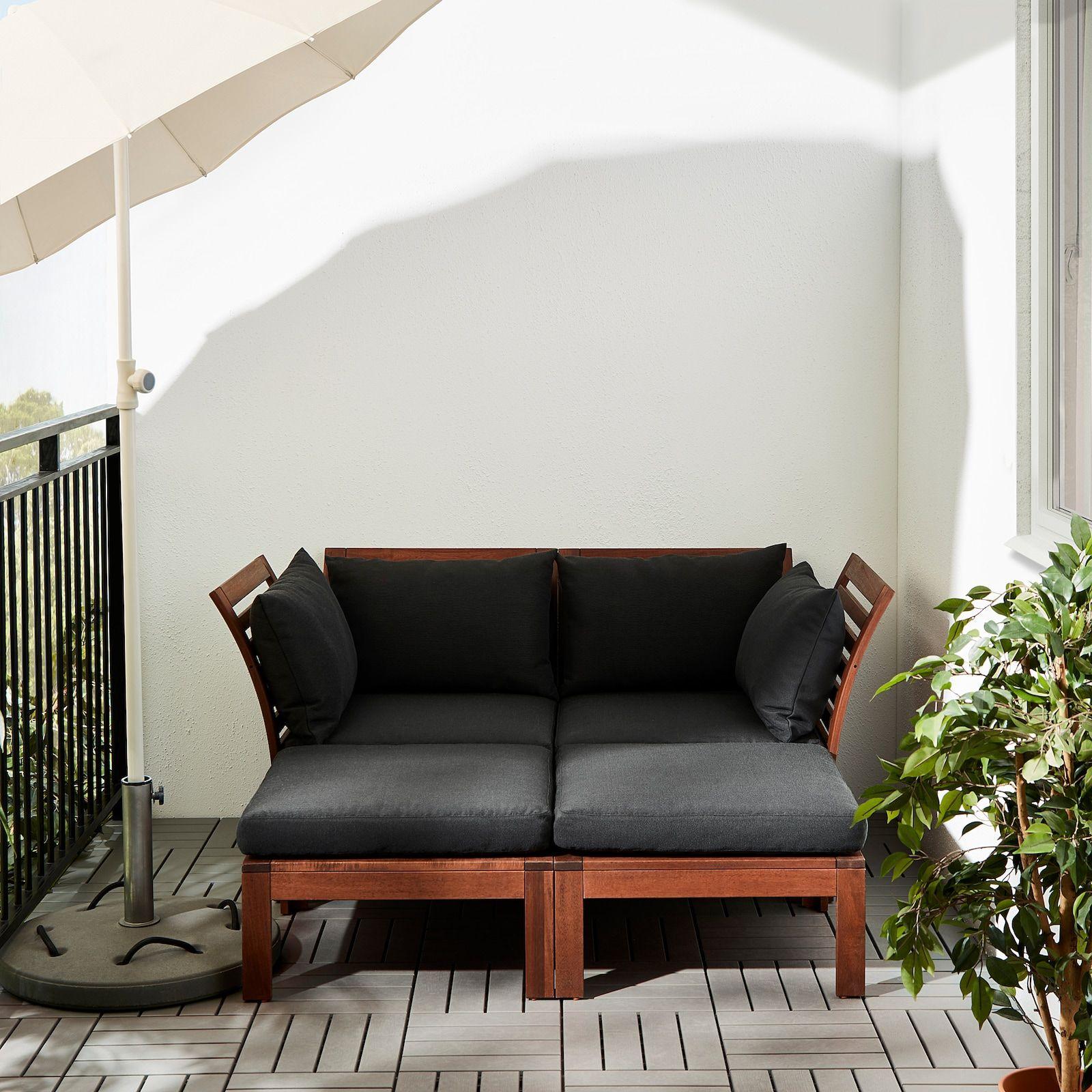 Applaro 2 Zits Modulaire Bank Buiten Met Voetenbank Bruin Gelazuurd Hallo Zwart Ikea In 2020 Balcony Furniture Ikea Outdoor Small Balcony Decor