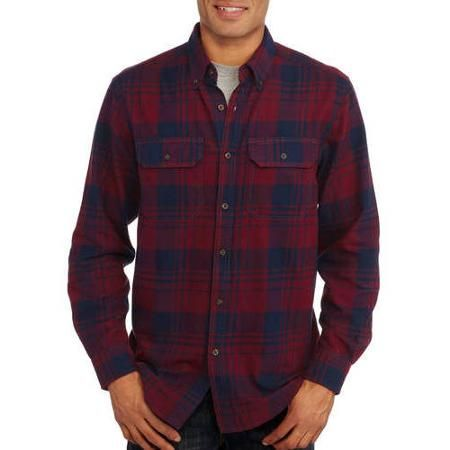 Faded Glory Men's Long Sleeve 2 Pocket Flannel Shirt - Walmart.com
