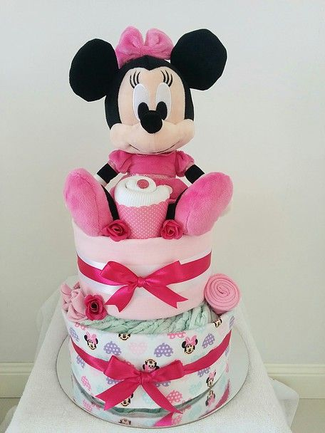 Nappy Cakes by Emma Minnie Mouse Nappy Cake Pink White Minnie
