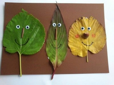 Faces from Fall Leaves | preschool | Leaf crafts kids