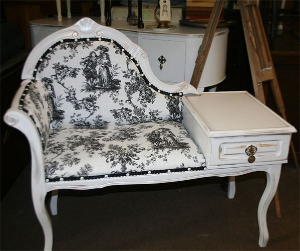 Vintage Telephone Table White Black Telephone Table Furniture