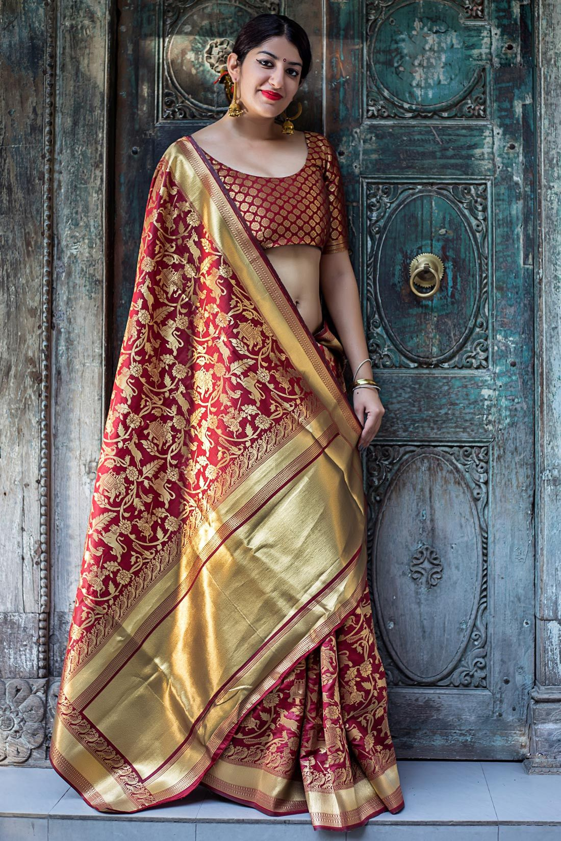 7f93dba236 Maroon banarasi silk saree for wedding | Silk sarees in 2019 | Silk ...