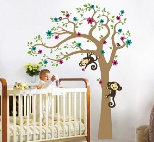 stickerboom kinderkamer, muurstickers babykamer boom, boom sticker, Deco ideeën