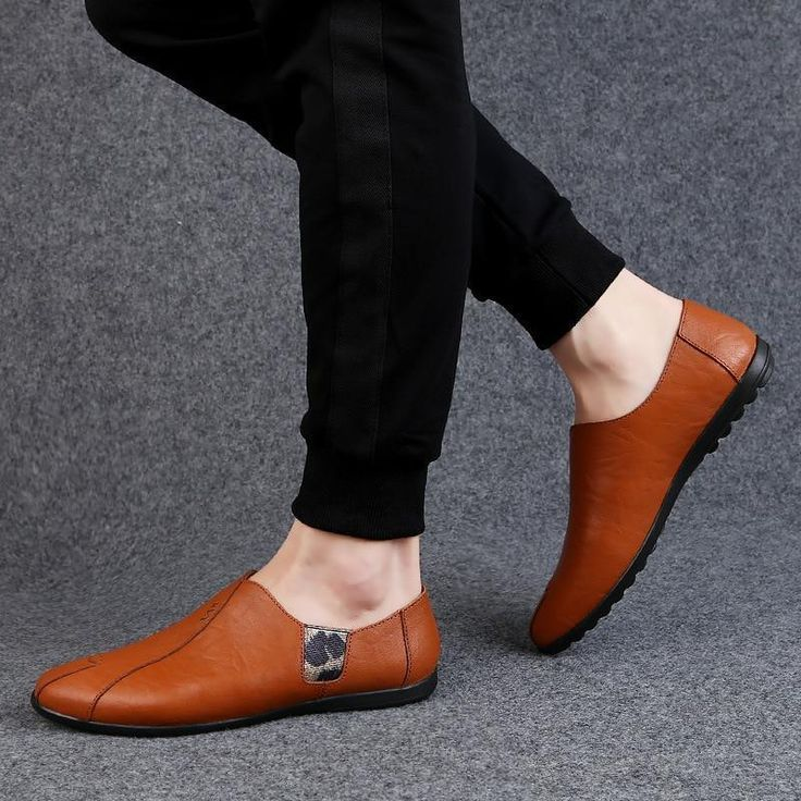 Mens Flats Shoes Slip on Summer Fashion Casual Leather Shoe is part of Casual leather shoes -