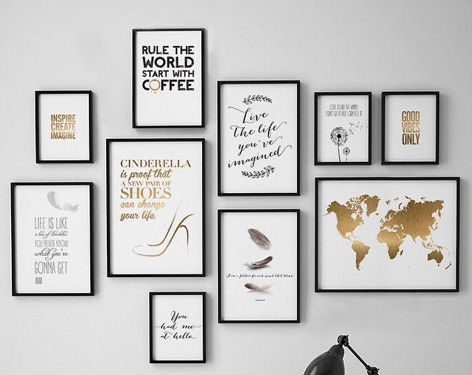 Kunst Aan De Muur Wordt Afgedrukt Set Van 10 Wordt Afgedrukt Set Van 10 Art Prints Minimalistische Wor Creative Wall Decor Frames On Wall Picture Frame Wall