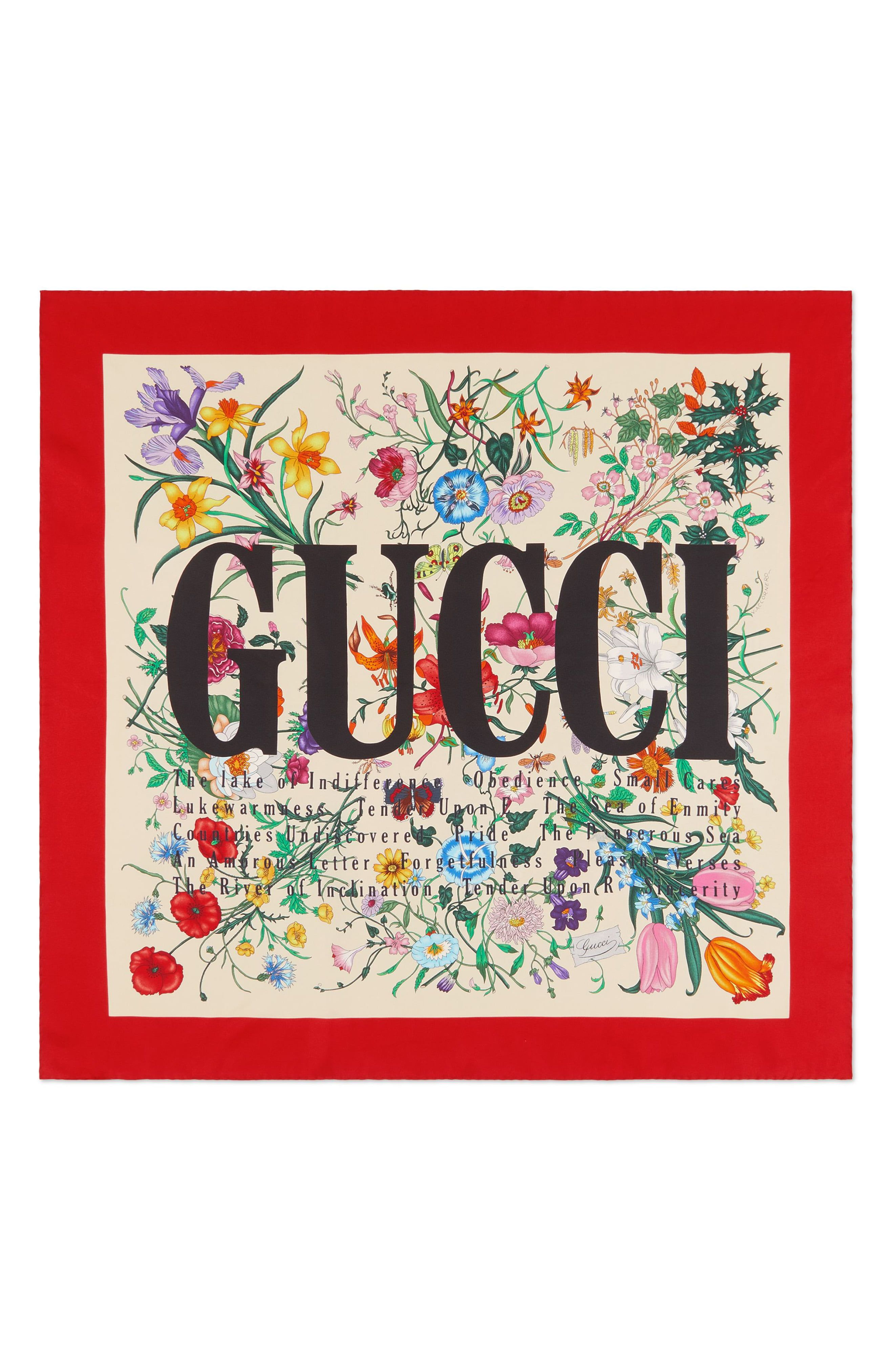 Women's Gucci Flora City Square Silk Scarf, Size One Size