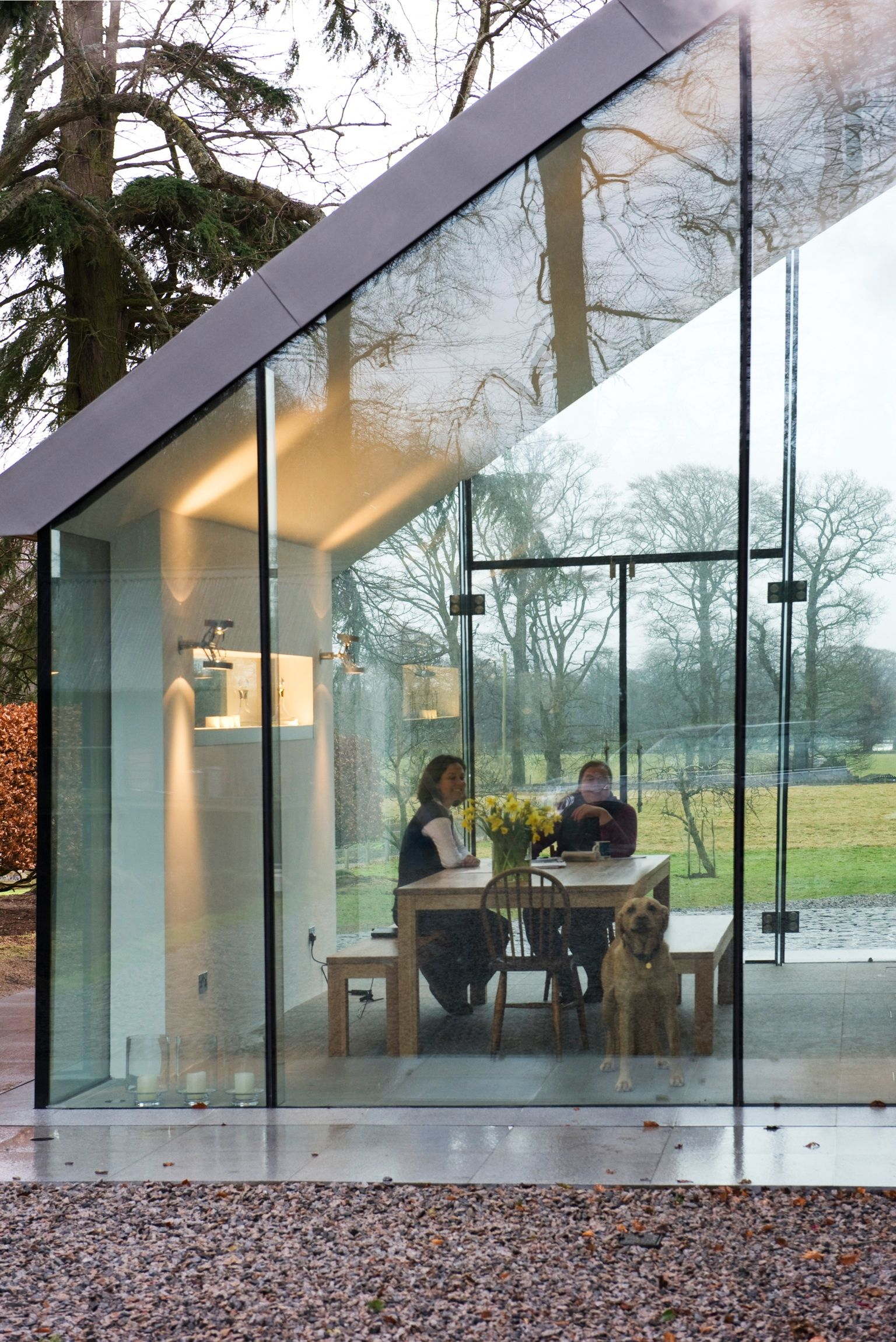 Prospect house structural glass extension structural glazing vmzinc roof frameless glass traditional
