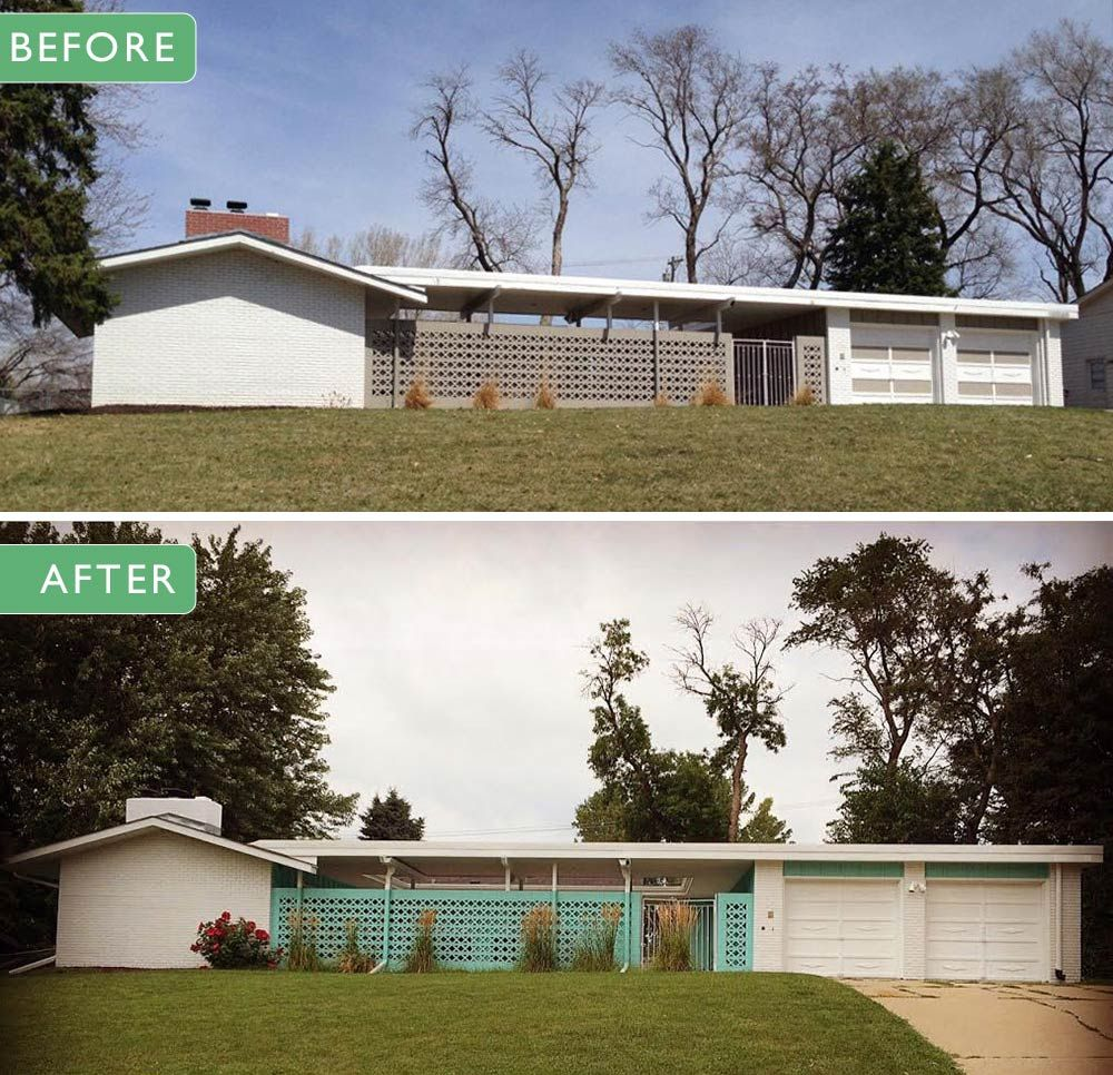 exterior paint colors on her midcentury modern ranch house retro - Mid Century Modern Home Exterior Paint Colors