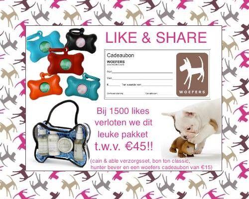 Like-Share-Win. Facebook actie-WOEFERS: win dit te gekke hondenpakket.