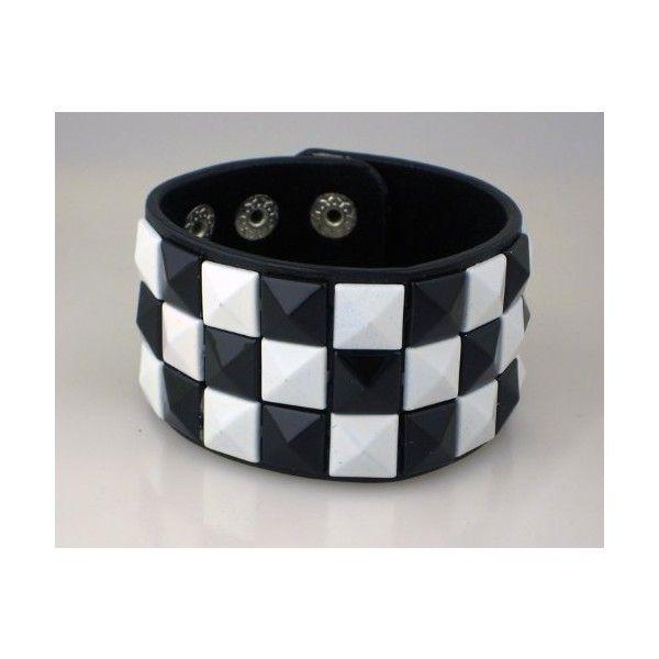Black White Checkered Wristband 80s