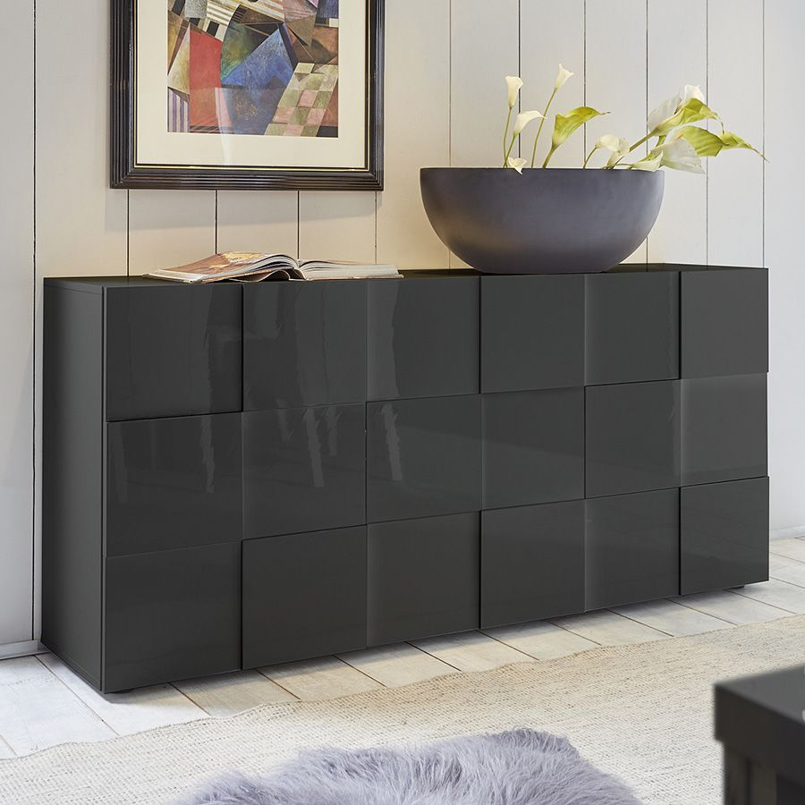 Buffet Design Gris Laqu Brillant Artic 2 Pinterest  # Achat Buffet Wenge