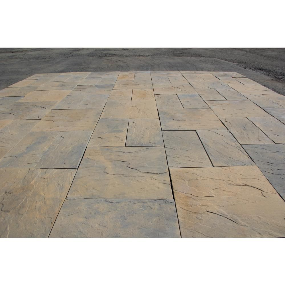 Nantucket Pavers Patio On A Pallet 10 Ft X 10 Ft Concrete Tan Variegated Basket Weave Yorkstone Paver 37 Pieces 100 Sq Ft 31034 The Home Depot In 2020 Paver Patio Brick Exterior House Patio Pavers Design