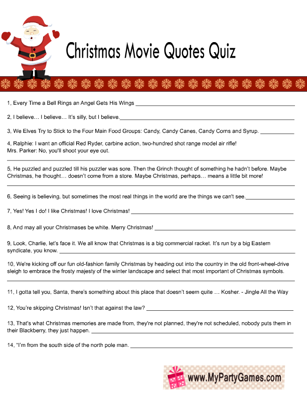 Free Printable Christmas Movie Quotes Quiz Free Christmas