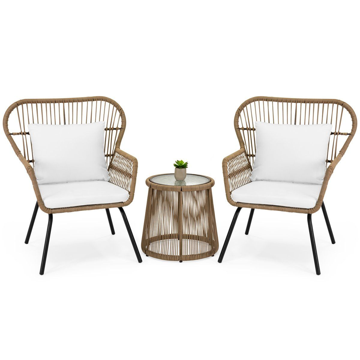 3 Piece Patio Wicker Conversation Bistro Set W 2 Chairs Table