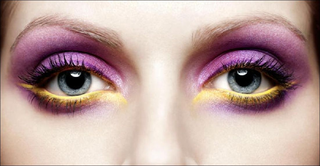 Go for a funky high voltage look by following this. It has been done by applying plum purple shade on the upper eye lid.